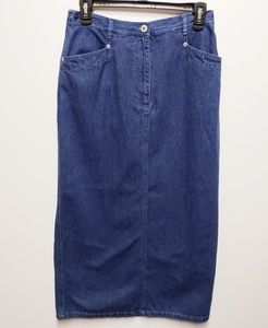 3/$25 DAVID BROOKS Sz 6 Long Denim Blue Jean Skirt